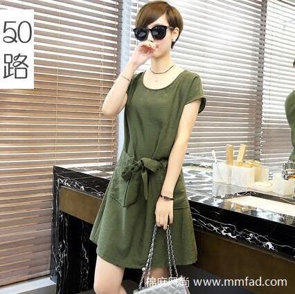 新款中长款收腰棉麻连衣裙修身显瘦短袖裙子