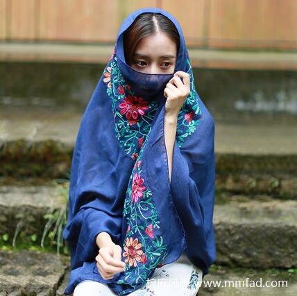 女士棉麻围巾民族风防晒披肩花朵刺绣丝巾