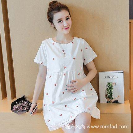 韩版夏季孕妇纯棉短袖连衣裙大码宽松中长款