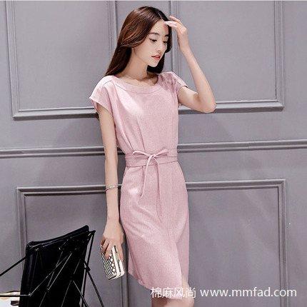 韩版修身棉麻连衣裙气质优雅淑女裙中长款显瘦收腰