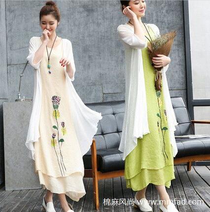 时尚文艺棉麻连衣裙两件套亚麻女装宽松印花中长款