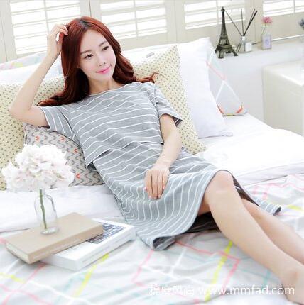 韩版纯棉孕妇连衣裙哺乳孕妇装上衣中长款宽松