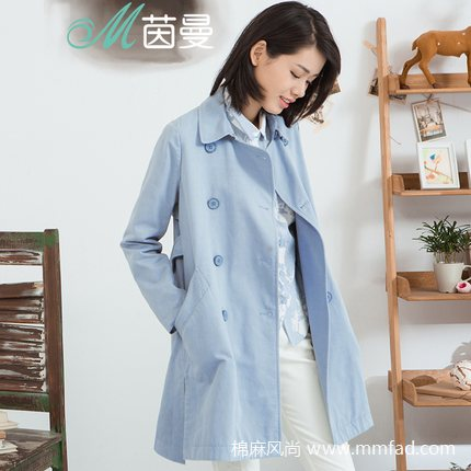 棉麻女装品牌茵曼--宽松双排扣纯棉风衣外套中长款