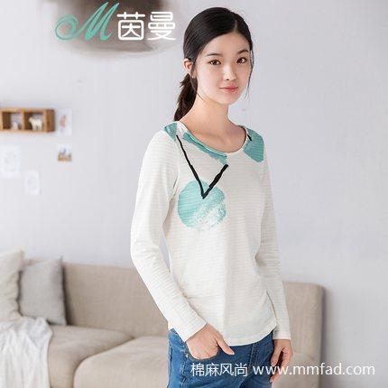 棉麻女装品牌茵曼--清新文艺印花长袖纯棉T恤