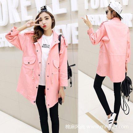 韩版中长款风衣修身显瘦纯色小清新学生长袖工装棉外套