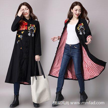 复古民族风女装刺绣花拼接中长款外套长袖棉麻风衣女