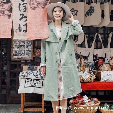 文艺复古全棉女士风衣外套休闲宽松背后刺绣中长款