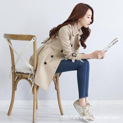 韩版英伦风秋装女士棉质风衣外套双排扣中长款
