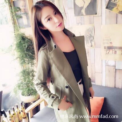 韩版明星款气质军绿色精品棉质风衣修身中长款