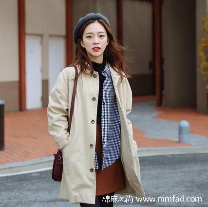 极简风格时代女装卡其色休闲淑女全棉风衣