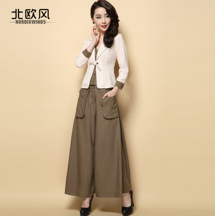 早秋时尚棉麻长袖外套休闲阔腿裤两件套