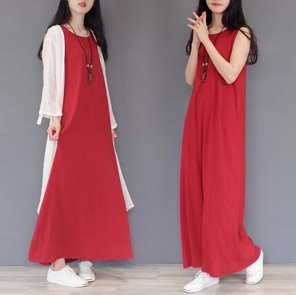 棉麻文艺复古打底长裙纯色无袖百搭宽松