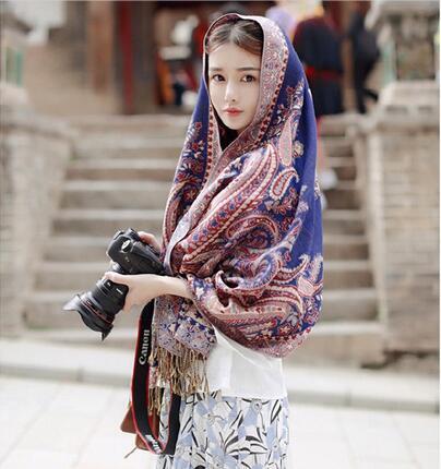 丽江女士棉麻防晒围巾旅游民族风披肩