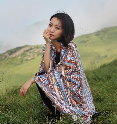 波西米亚民族风女士沙滩防晒超大棉麻围巾