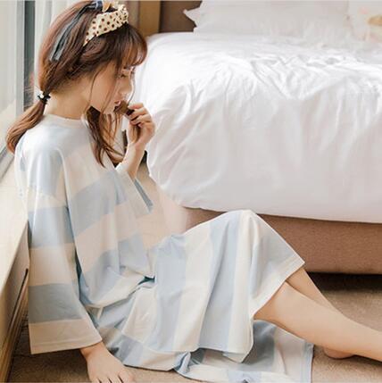 秋季纯棉睡衣女韩版条纹圆领长袖睡裙宽松甜美可爱