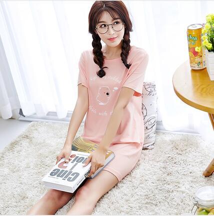女士纯棉睡衣纯棉短袖睡裙甜美可爱卡通休闲