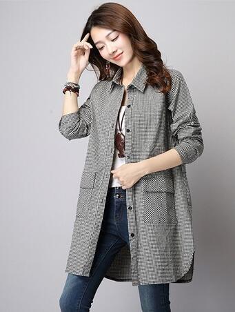 大码女装外套棉麻上衣韩版修身长袖格子衬衣