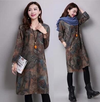 韩版复古宽松大码女装中长款棉麻长袖连衣裙