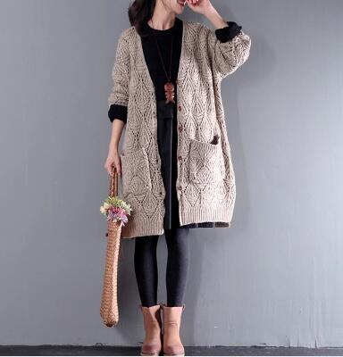 韩版宽松棉麻长袖镂空毛衣开衫