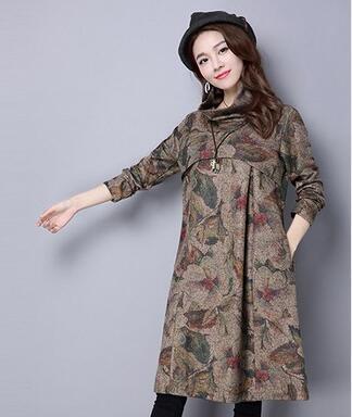 韩版棉麻连衣裙大码中长款