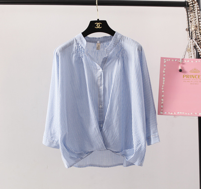 韩版棉麻衬衫女 宽松立领显瘦七分袖衬衣