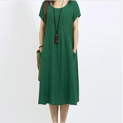 韩版大码女装棉麻短袖连衣裙宽松中长款