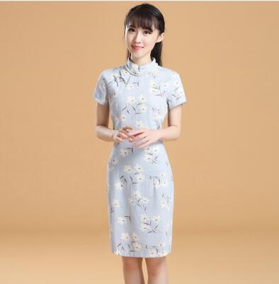 少女改良复古显瘦亚麻旗袍连衣裙