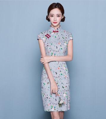 小清新中式改良日常少女棉麻旗袍连衣裙