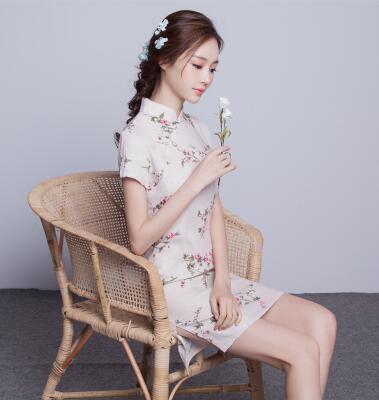 改良时尚短款棉麻连衣裙少女小清新