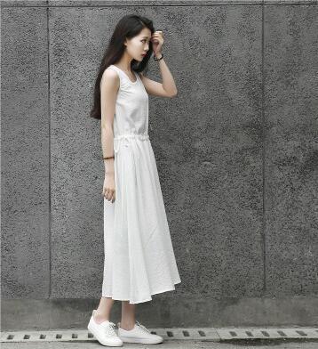 韩版薄款圆领吊带收腰无袖系带棉麻连衣裙