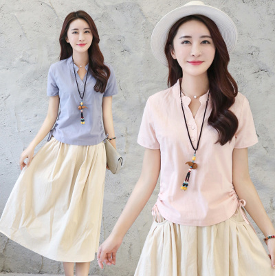 韩版修身显瘦亚麻套装裙短袖中长款