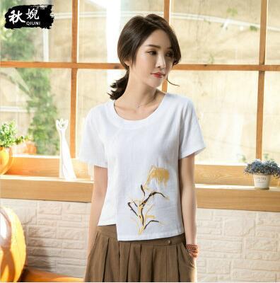 大码女装刺绣圆领修身棉麻T恤衫