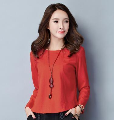 韩版宽松大码修身棉麻长袖T恤