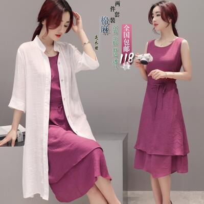 玫紫色宽松显瘦套装棉麻连衣裙