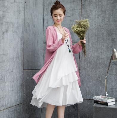 小清新蛋糕型时尚棉麻吊带连衣裙